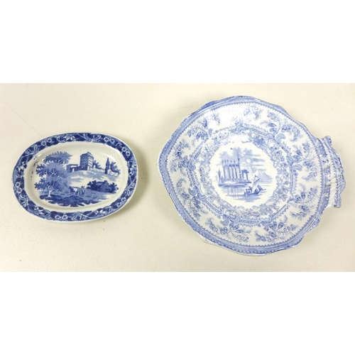 528 - A pair of Brameld leaf moulded dishes, circa 1840, impressed marks, 14 by 16cm, together with a grou...