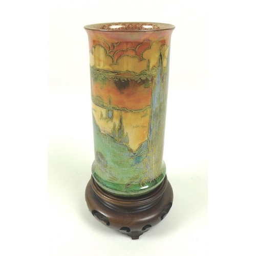 533 - An Art Deco Royal Worcester Crown Ware lustre vase, circa 1925, of cylindrical form with flared rim ...