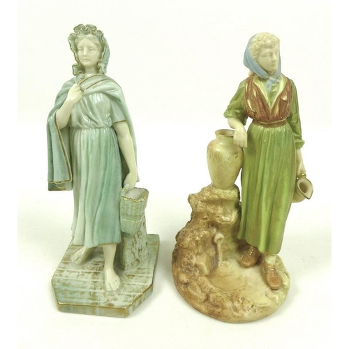537 - Two Royal Worcester porcelain figurines, the first modelled as an Irish girl, circa 1901, wearing a ...