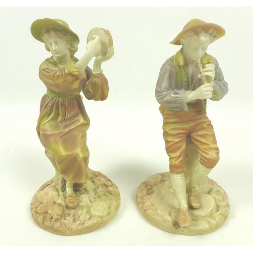 538 - A pair of Royal Worcester porcelain figurines, circa 1898, modelled as the boy piper Strephon and co...