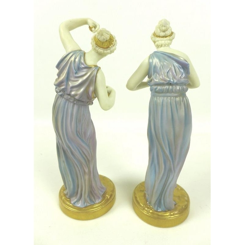 540 - A pair of Royal Worcester porcelain figurines, circa 1928, modelled as music and dance, with a Greci...