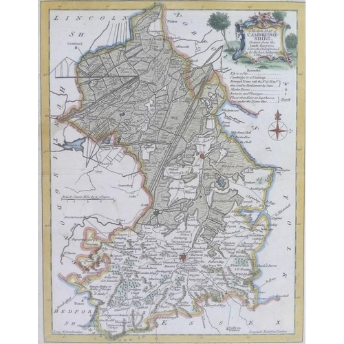 541 - After John Ogilby: a pair of ribbon maps, both hand coloured, the one 'London to St. Neots', the oth...