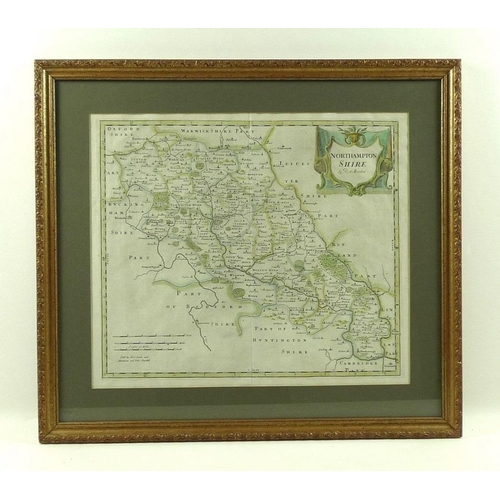 542 - Robert Morden (British, 1650-1703): a 17th century map of Northamptonshire, sold by Swale, Awnsham a...