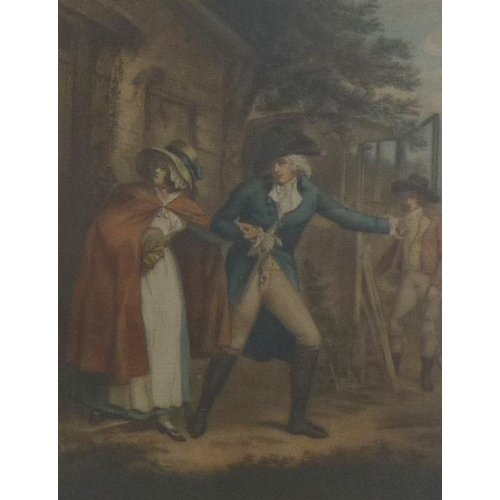 547 - After George Morland (British,1763-1804): a series of six stipple engravings of Laetitias adventures...