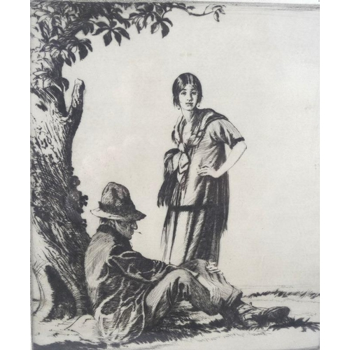 548 - Edward Herbert Whydale (British, 1886-1952): 'Gypsies', dry point etching, pencil signed to lower ma...
