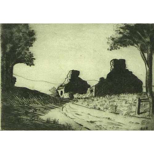 552 - H. McKee: Old Ruin, near Connell Ferry, etching, signed 'Kee' in the plate and in pencil to the lowe...