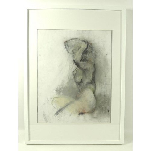 553 - E. McMillan: a modern nude, pastel, signed lower right, 48.5 by 38.5cm, mounted, glazed and framed, ...
