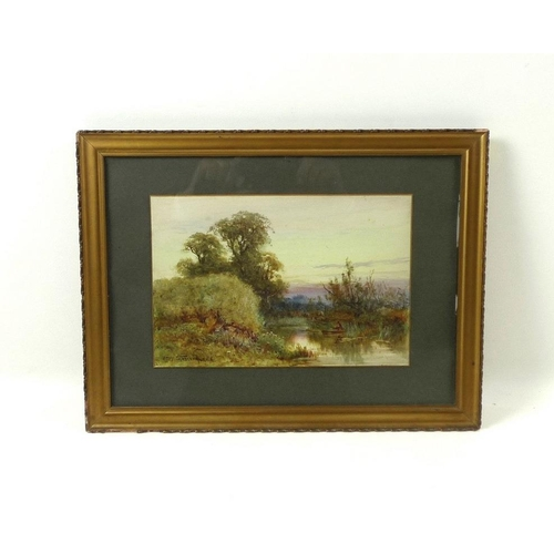557 - Henry (Harry) Stannard RBA (British, 1844-1920): 'The Ouse Pavenham', a river scene, watercolour on ...