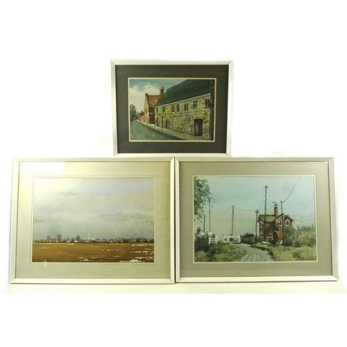558 - Charles Whitaker: three watercolours including 'Blackfriars, Boston, Sept 1971, 23.5 by 34cm, 'Bosto...