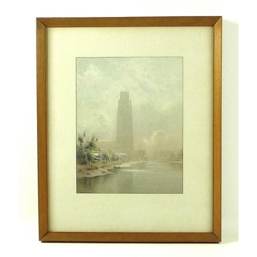 560 - William Bartol Thomas (British, 1877-1947): a view of Boston Stump from the river through the mist, ...