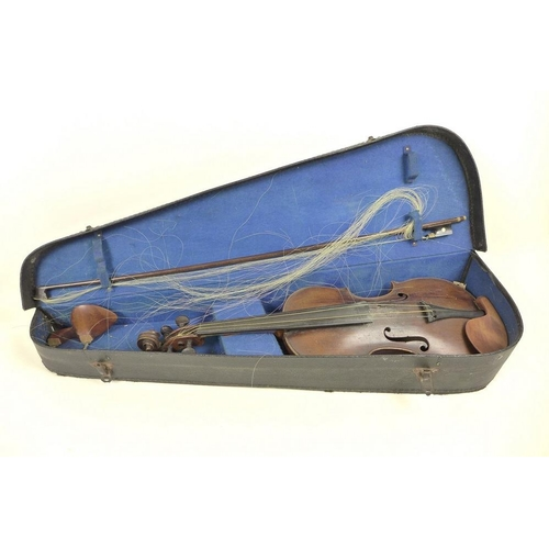 656 - A late 19th or early 20th century violin, the back of the violin formed of bird's eye maple, attache...