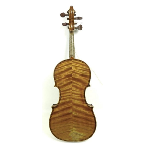 657 - A late 19th century violin, interior of body with paper label printed 'LH Star Trademark' and inscri...
