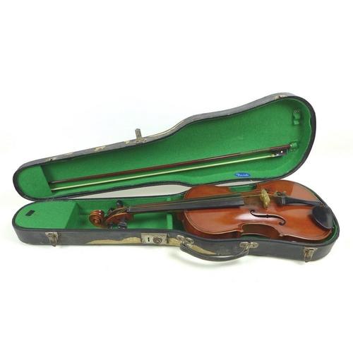 658 - A late 19th century violin, interior of body with paper label printed 'Giovan Paolo Maggini brescia ...