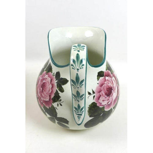 727 - A Wemyss Ware jug and bowl wash set, early 20th century, painted with roses, printed, painted and im...
