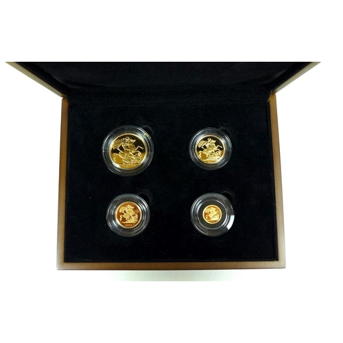 763 - An Elizabeth II 2011 Gold Proof Sovereign Four Coin Collection, comprising double sovereign, soverei...