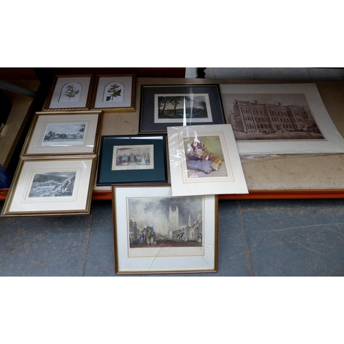 103 - A mixed collection of prints, to include framed local Peterborough and Stamford reproductions, botan...