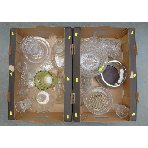 13 - A large collection of glassware including cut glass vases, bowls and rose bowls, as well as moulded ...
