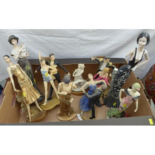 15 - A group of ten modern Art Deco style resin figures, some Leonardo, including dancer and flapper dres...