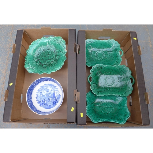 27 - A collection of five Victorian centrepieces, four marked Wedgwood, comprising a pair of green glazed...