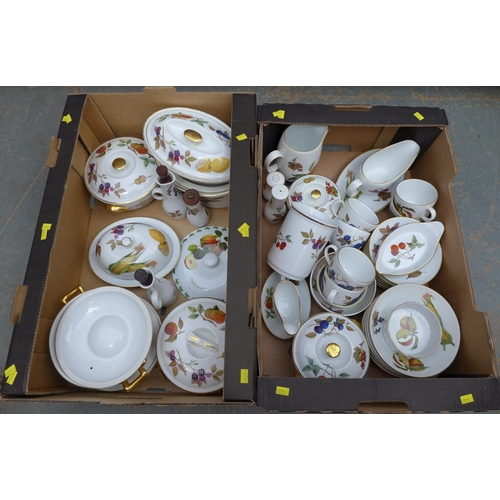 28 - A Royal Worcester part dinner service in the Evesham pattern, comprising six cups and saucers, five ...