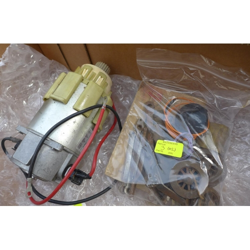3 - A Sinclair C5 geared four to one motor, 3300 RPM output 825 RPM with receipt dated 7/12/93, together...