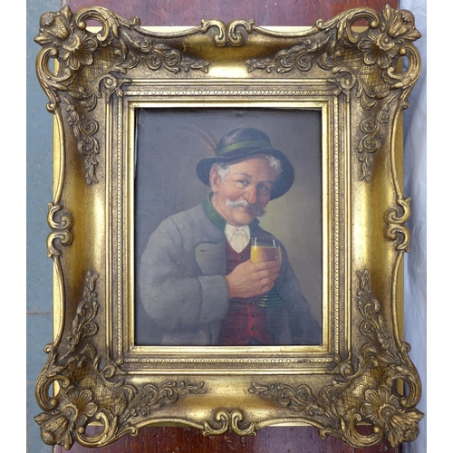 31 - Breuning (Germany, 19th century): a portrait of a elderly man, holding a glass of beer, oil on canva...