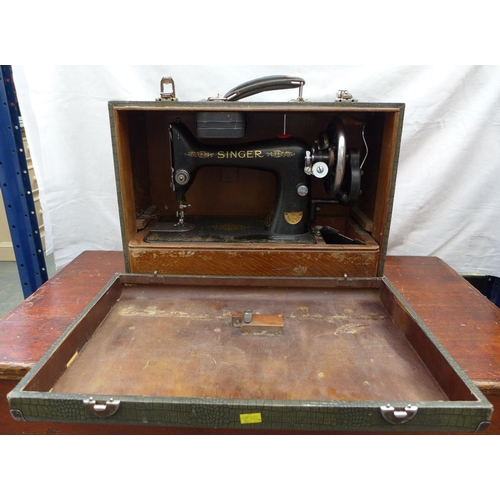 4 - Vintage Singer sewing machine, complete with accessories and case....
