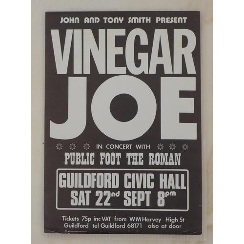 42 - Rock and Pop Memorabilia: an original flyer for Vinegar Joe in concert held on Saturday 22nd Septemb...