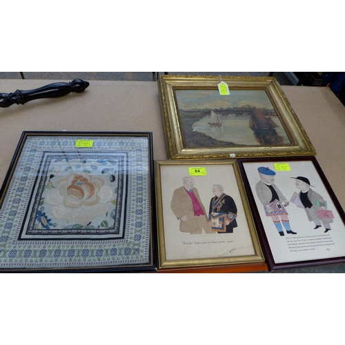 84 - A group of four pictures comprising a piece of Chinese embroidery, 31 by 29cm, glazed and framed, 33...