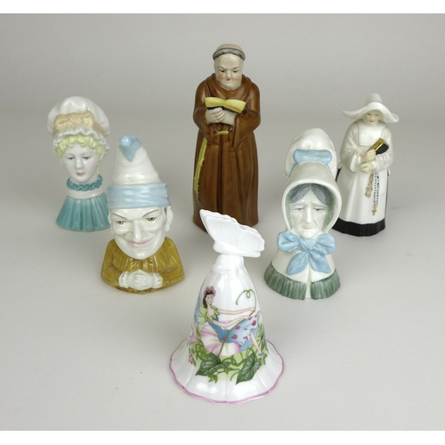 9 - A group of six Royal Worcester candle snuffers comprising Monk, Nun, Mob Cap inspired by Kate Greena...