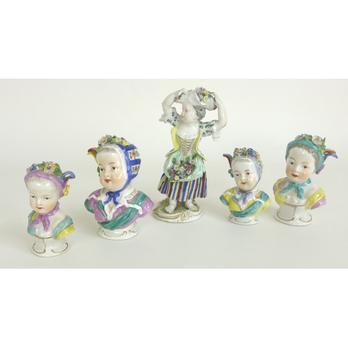 31 - A group of European 19th century porcelain, comprising a Meissen style figurine, modelled as a girl ...