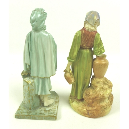 26 - Two Royal Worcester porcelain figurines, the first modelled as an Irish girl, circa 1901, wearing a ...