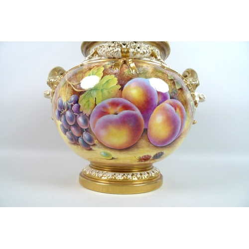 2 - A modern Royal Worcester twin handled 'bow' vase and cover, with applied twin handles, swags and pie...
