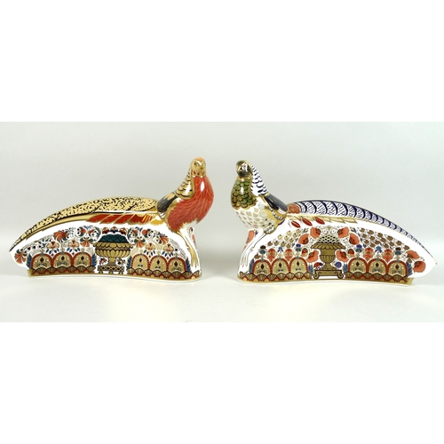 20 - A pair of Royal Crown Derby paperweights, modelled as 'Golden Pheasant' and 'Lady Amherst Pheasant',...