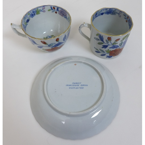 30 - A group of 19th century porcelain, many possibly New Hall, comprising a coffee can, teacup and sauce...