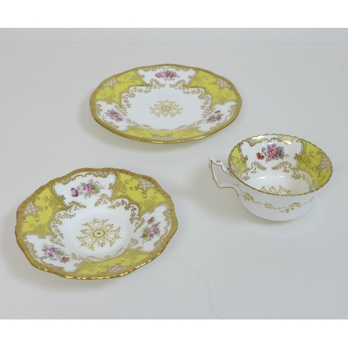 32 - A group of 19th century porcelain teacup sets, comprising a G. Grainger Royal Porcelain Works Worces...