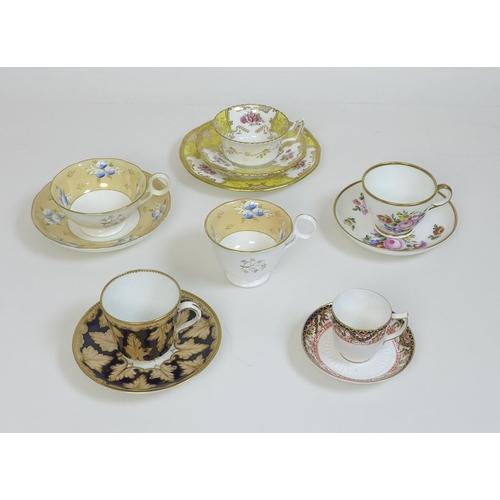 32 - A group of 19th century porcelain teacup sets, comprising a G. Grainger Royal Porcelain Works Worces...