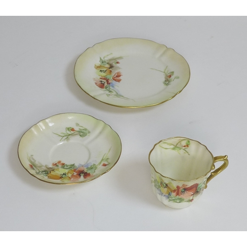 34 - A Swansea porcelain trio, together with three other trios, the Swansea set with wrythern and basket ...