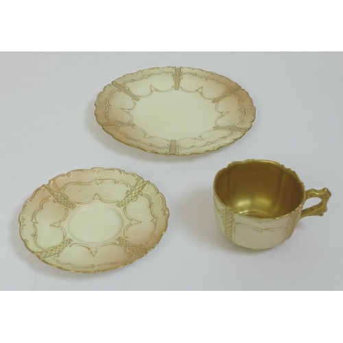 7 - A group of Royal Worcester blush ivory tea cup sets, all with moulded decoration, comprising a trio ...