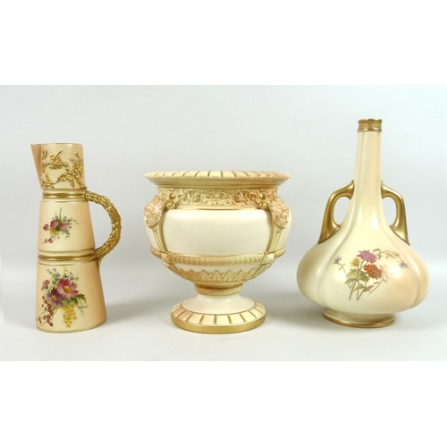 6 - A group of three pieces of Edwardian Royal Worcester blush ivory porcelain, comprising a vase of gar...