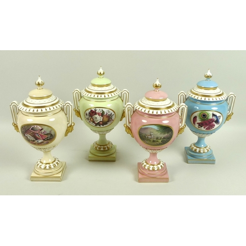 44 - A set of four modern Royal Worcester pedestal vases and covers, with twin moulded handles supported ...