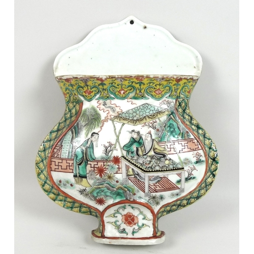 29 - A Chinese Qing Dynasty, 19th century, famille vert porcelain wall pocket, of flat back baluster vase...