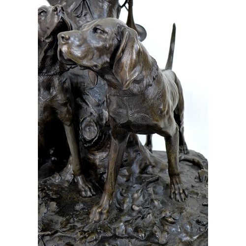 105 - After Auguste Nicolas Cain (French, 1822-1894): a large bronze figural group, modelled as two huntin...