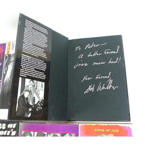 48 - A collection of Jazz related books, several author signed, including Jazz at Ronnie Scott's by Kitty...