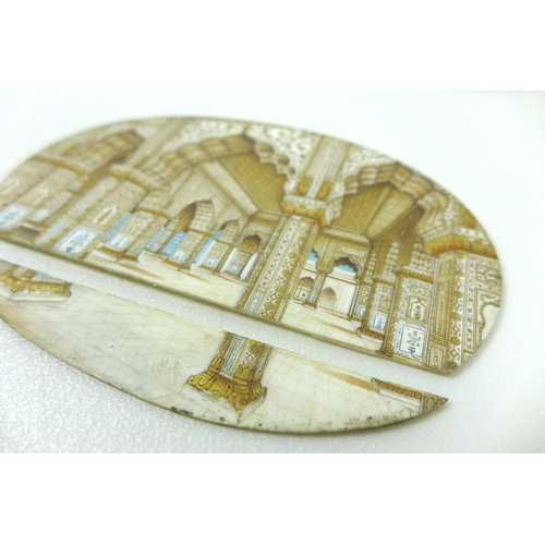 58 - A pair of Indian oval paintings on ivory, 19th century, each depicting an interior scene of the Red ...