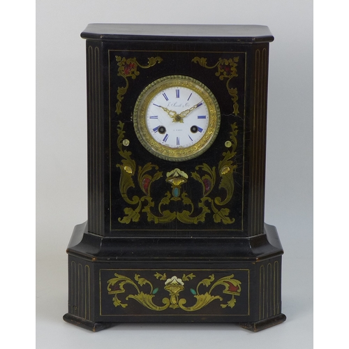 82 - A French 19th century mantel clock, by J. Sewell & Cie, Paris, in an ebonised, brass inlaid and hard...