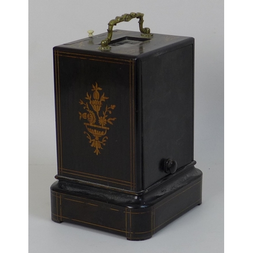 79 - A French 19th century ebonised and marquetry inlaid oak cased mantel clock, with gilt metal carry ha...