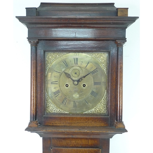 264 - An 18th century long case clock with brass engraved face, subsidiary seconds dial, 11 inch dial, dat...
