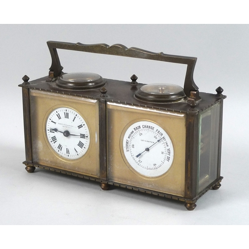 61 - An Edwardian brass cased carriage clock compendium, with barometer and compass, by Curtis and Horspo...