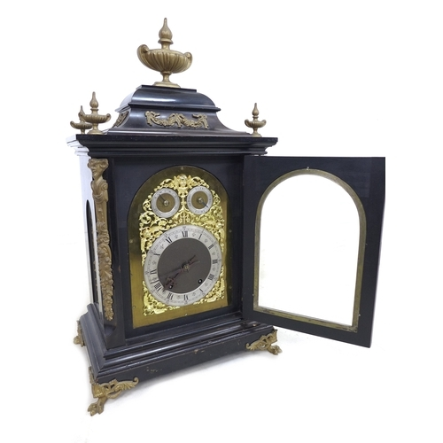 103 - A 19th century bracket clock in the French style, by T. Jameson, 94 Westbourne Grove, London, the eb...